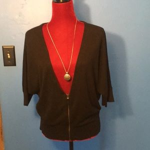 Loft black zip cardigan